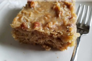 Oatmeal cake with caramel/coconut frosting